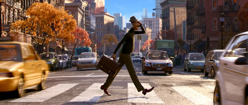 Soul sees Joe living his busy life in a bustling New York City. (Disney)