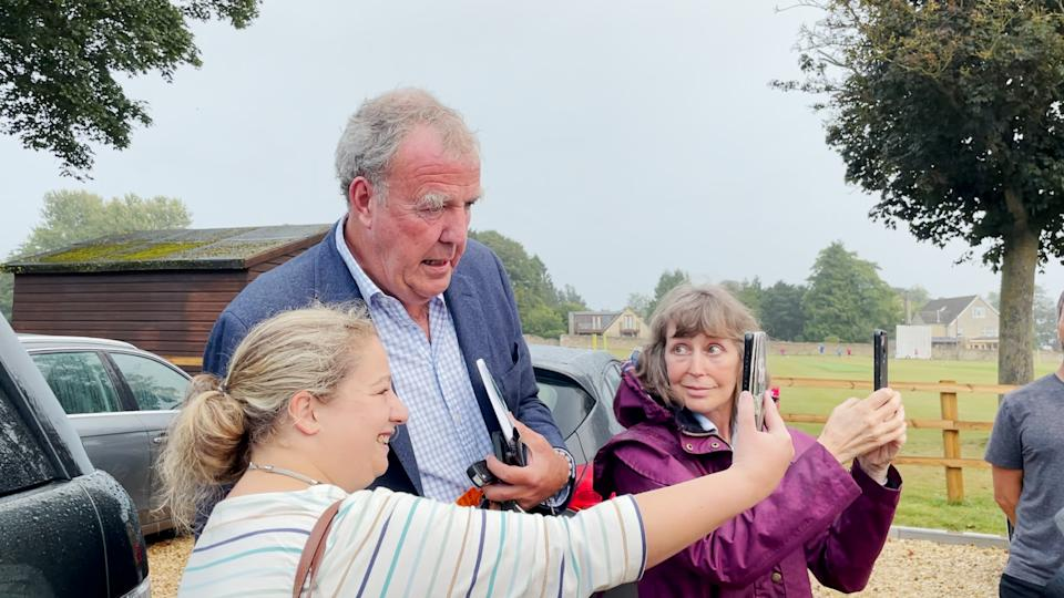 Jeremy Clarkson with fans at the Memorial Hall in Chadlington, where he held a showdown meeting with local residents over concerns about his Oxfordshire farm shop. Picture date: Thursday September 9, 2021. (Photo by PA Video/PA Images via Getty Images)