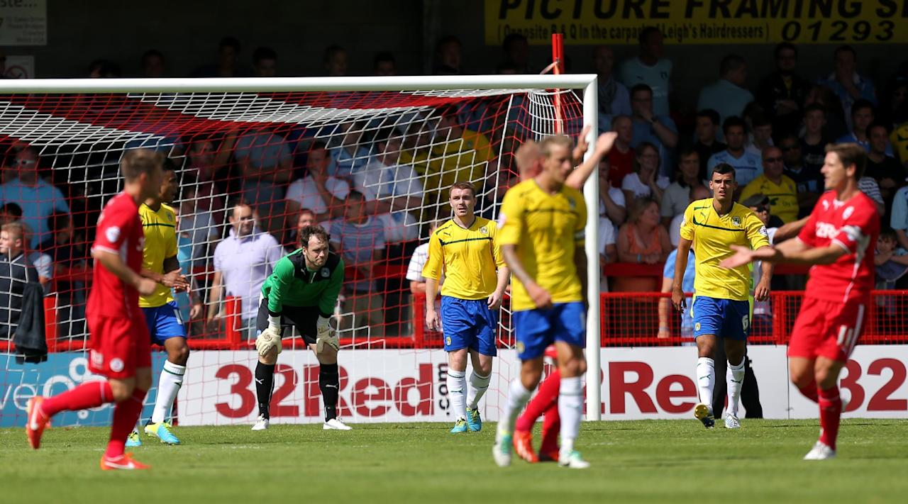 Coventry City's goalkeeper Joe Murphy stands dejected after conceding there second goal of the game during the Sky Bet League One match at Broadfield Stadium, Crawley.