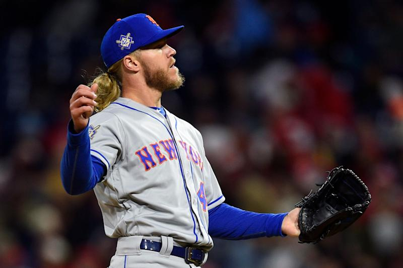 New York Mets starting pitcher Noah Syndergaard has denied applying a foreign substance to the baseball during Monday's start against the Philadelphia Phillies. (AP Photo/Derik Hamilton)