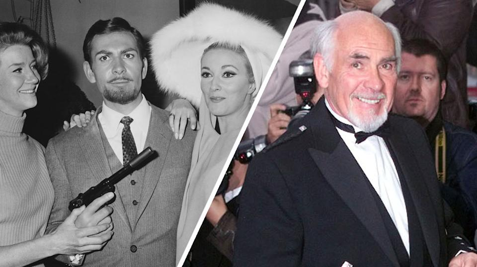 Neil Connery pictured left with Lois Maxwell and Daniela Bianchi in 1966, and right at the 1999 UK premiere of Entrapment (Getty Images)