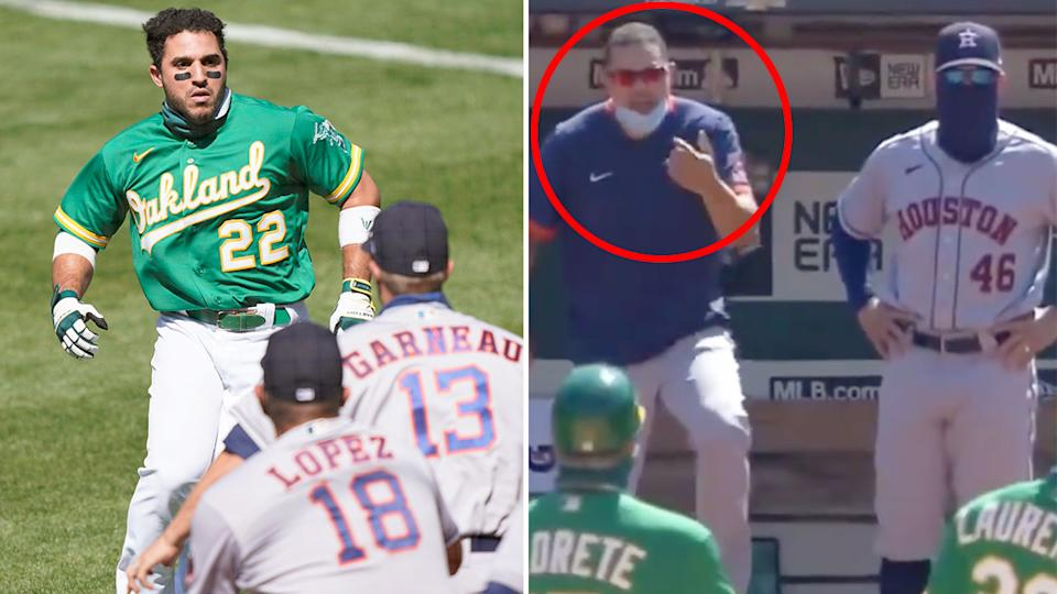 Seen on the right, Alex Cintrón taunted Ramón Laureano before a wild melee ensued.