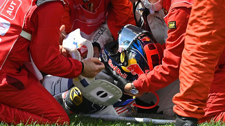 Hafiz Syahrin, pictured here after the horrific crash in the Moto2 Austrian Grand Prix.