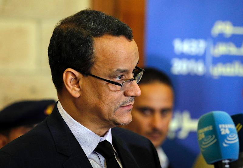 UN Yemen envoy Ismail Ould Cheikh Ahmed speaks to reporters in Sanaa on October 25, 2016