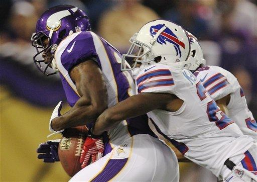 Minnesota Vikings wide receiver Stephen Burton (11), left, gets stripped of the ball by Buffalo Bills defensive back Leodis McKelvin (21), right, in the first half of an NFL preseason football game, Friday, Aug. 17, 2012, in Minneapolis. (AP Photo/Genevieve Ross)