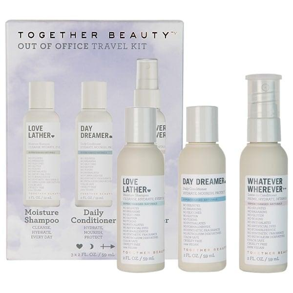 <p>Sure, they may not be out of office or <em>actually</em> traveling anywhere, but that doesn't make the clean hair-care products in this <span>Together Beauty Out of Office Travel Kit</span> ($24) any less useful.</p>