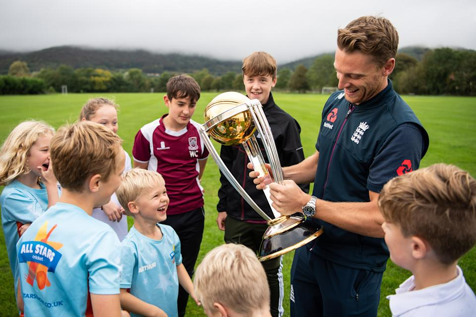 Jos Buttler with the World Cup trophy at his home club in Cheddar