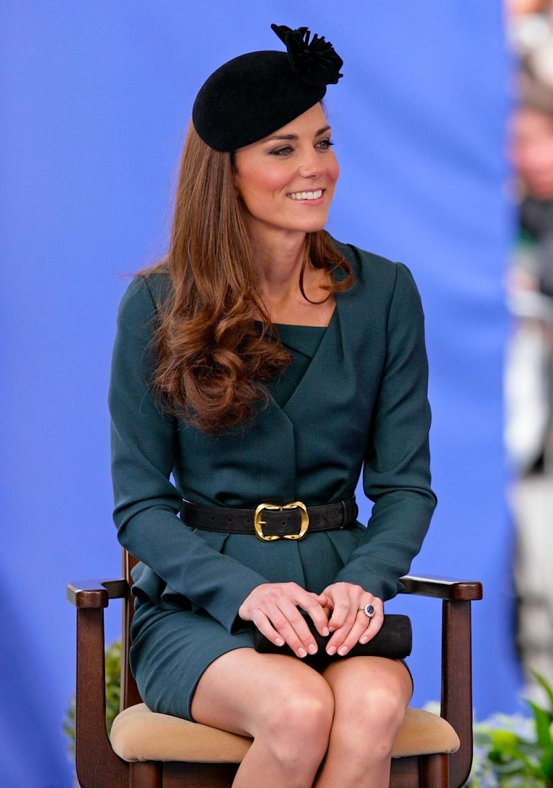 The Duchess kept things classy with a teal suit by LK Bennett while visiting Leicester on the first date of Queen Elizabeth II's Diamond Jubilee in March 2012.