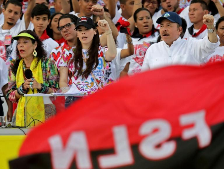 Nicaraguan President Daniel Ortega, his wife, Vice President Rosario Murillo, and their daughter Camila Ortega attend the commemoration of the 40th anniversary of the Sandinista Revolution in 2019 in Managua