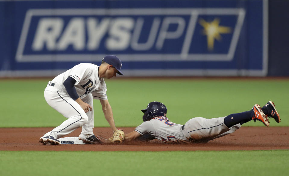 Tampa Bay Rays second baseman Brandon Lowe, left, tags out Houston Astros' Jose Altuve trying to steal second during the first inning of a baseball game Saturday, March 30, 2019, in St. Petersburg, Fla. (AP Photo/Mike Carlson)