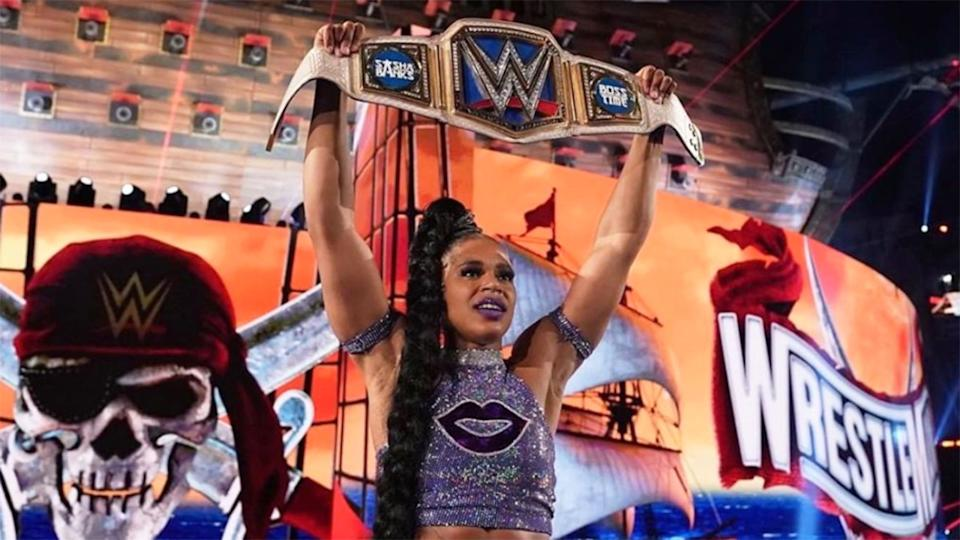 Seen here, Bianca Belair celebrates her win at Wrestlemania 37.