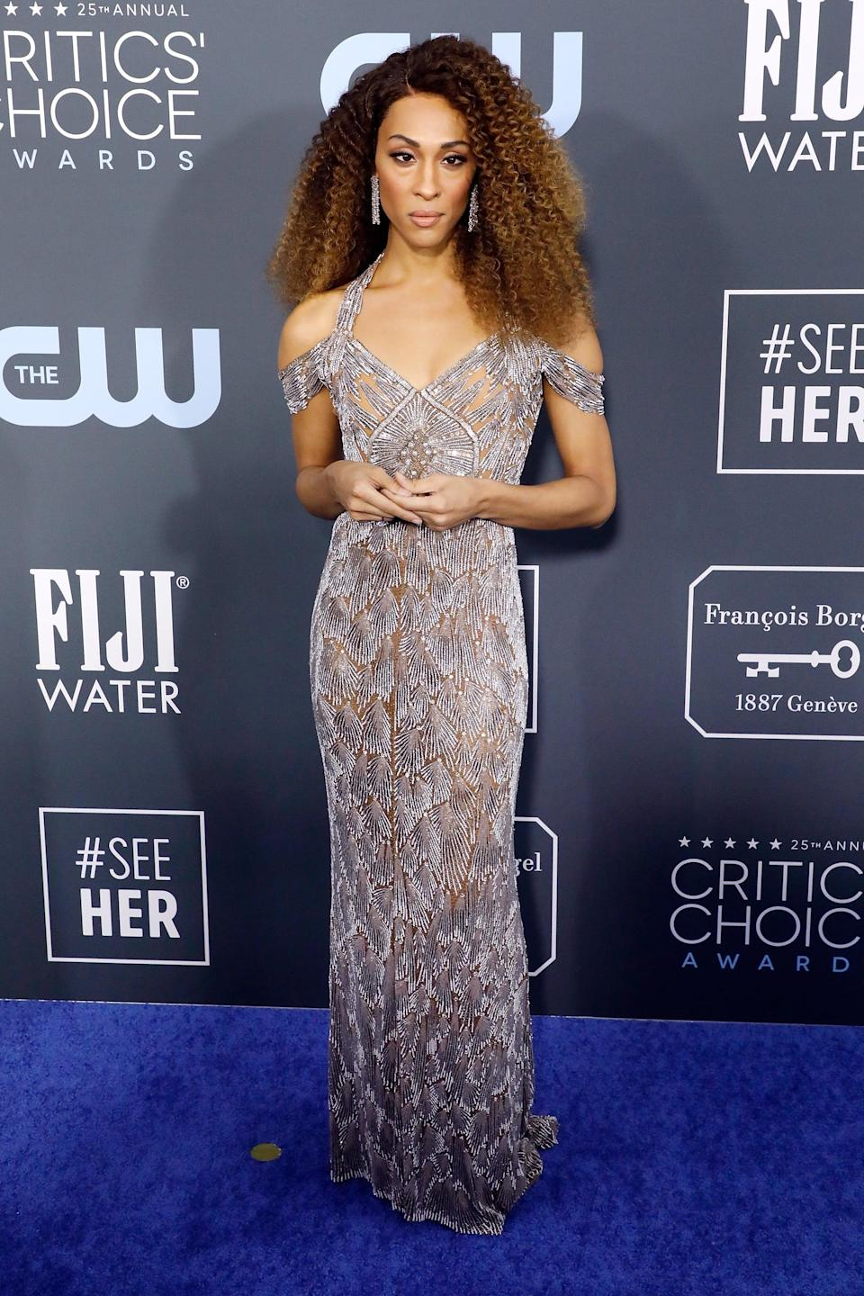 <p>She styled her look with Gismondi 1754 jewels and Giuseppe Zanotti shoes at the 2020 Critics' Choice Awards in Santa Monica, CA.</p>