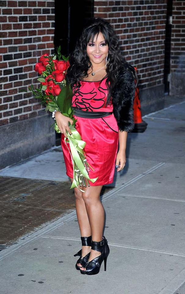 "Fellow reality star Nicole ""Snooki"" Polizzi looked better than she normally does upon visiting ""Late Show With David Letterman,"" but until she tones down her tan and tresses, we'll never be truly impressed. James Devaney/<a href=""http://www.wireimage.com"" target=""new"">WireImage.com</a> - January 10, 2011"