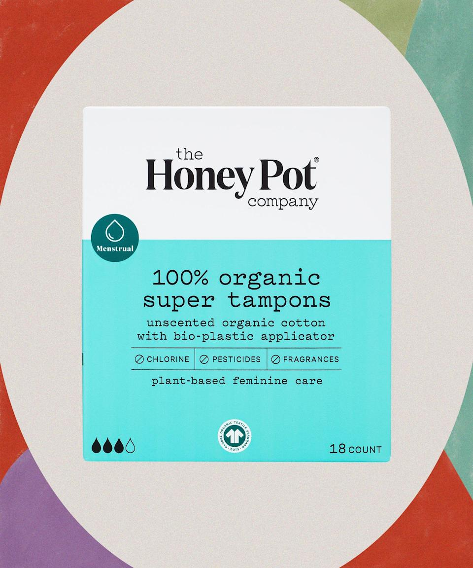 """Even though we're in the thick of a global pandemic, we've still only got one planet. To counteract all the single-use plastic we've had to revert to for safety's sake, make another part of your life more eco-friendly with these compostable, nontoxic tampons.<br><br><strong>The Honey Pot</strong> Super Organic Bio-Plastic Applicator Tampons, $, available at <a href=""""https://go.skimresources.com/?id=30283X879131&url=https%3A%2F%2Fwww.target.com%2Fp%2Fthe-honey-pot-super-organic-bio-plastic-applicator-tampons-18ct%2F-%2FA-79191692"""" rel=""""nofollow noopener"""" target=""""_blank"""" data-ylk=""""slk:Target"""" class=""""link rapid-noclick-resp"""">Target</a>"""