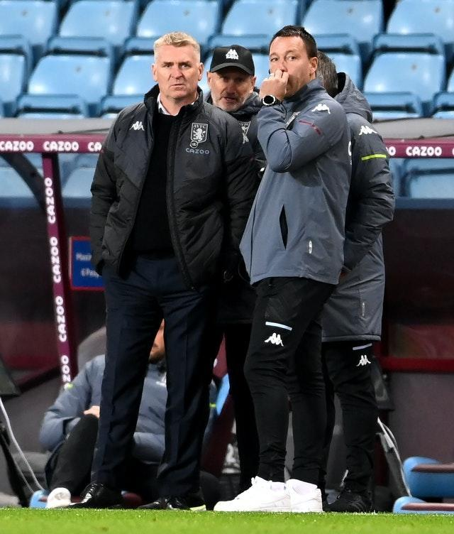 John Terry, right, has been working as number two to Dean Smith, left, at Aston Villa