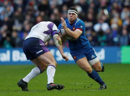 Rugby Union - Six Nations Championship - Scotland vs France - BT Murrayfield, Edinburgh, Britain - February 11, 2018 France's Guilhem Guirado in action with Scotland's Simon Berghan REUTERS/Russell Cheyne