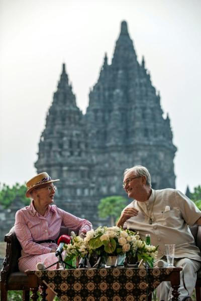 Danish Queen Margrethe II and Prince Henrik seen visiting Prambanan temple during a 2015 visit to Yogyakarta, Indonesia