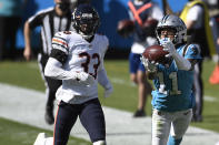 Carolina Panthers wide receiver Robby Anderson (11) catches a pass while Chicago Bears cornerback Jaylon Johnson (33) chases during the second half of an NFL football game in Charlotte, N.C., Sunday, Oct. 18, 2020. (AP Photo/Mike McCarn)