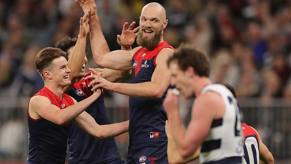 Max Gawn booted five goals in Melbourne's preliminary final victory over Geelong. (Photo by Will Russell/AFL Photos via Getty Images)