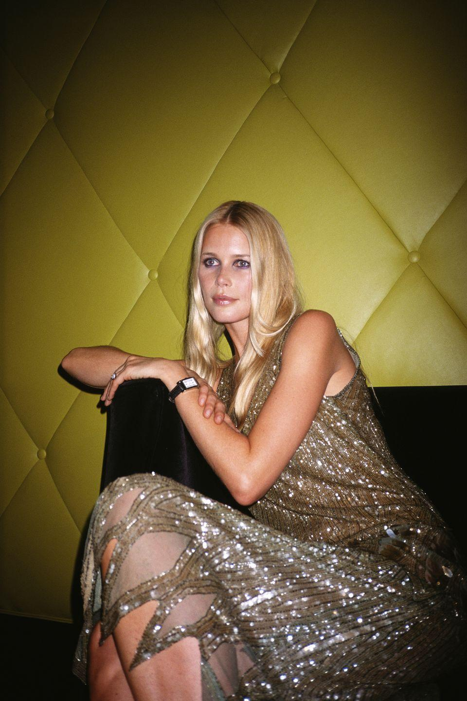 <p>At the launch party for new Bulgari art deco watch, 'Retangolo', at Eugene, New York City, 2000.</p>