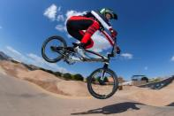 U.S. Olympic BMX gold medallist Connor Fields trains for the Tokyo 2020 Olympics in Henderson, Nevada