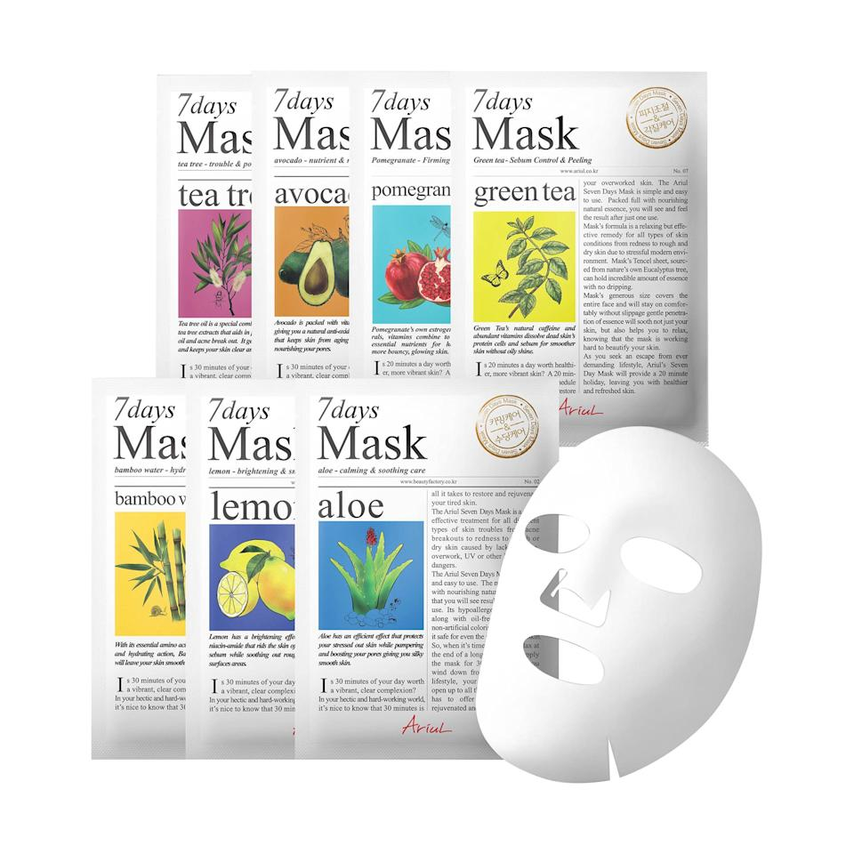 """<p>In the weeks leading up to Mother's Day, plant the seed that the Korean beauty trend is everywhere right now, it's all anyone is talking about, and on and on. Then present her with this set of seven sheet masks from Target's new Korean beauty range — and prepare to hug one very happy mama.</p><p>$20 (<a rel=""""nofollow"""" href=""""http://www.target.com/p/ariul-seven-days-mask-set/-/A-51265378?mbid=synd_yahoobeauty"""">target.com</a>).</p>"""
