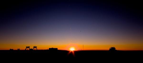 The sun dips low on the horizon ahead of the onset of winter in Antarctica.