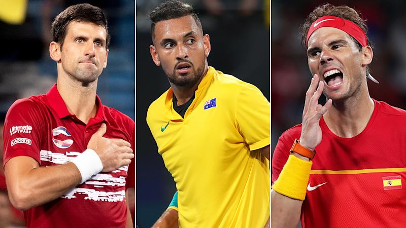 Nick Kyrgios (middle) has spent the better part of a year antagonising perennial champions Novak Djokovic (left) and Rafael Nadal (right) - to varying degrees of success. Pictures: Getty Images