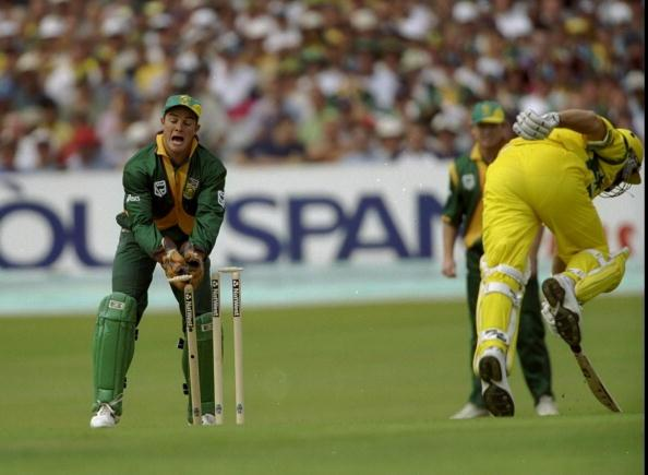 13 Jun 1999:  Mark Boucher of South Africa runs out Mark Waugh of Australia during the World Cup Super Six match at Headingley in Leeds , England. Australia won by 5 wickets to join South Africa in the semi-finals. \ Mandatory Credit: Adrian Murrell /Allsport
