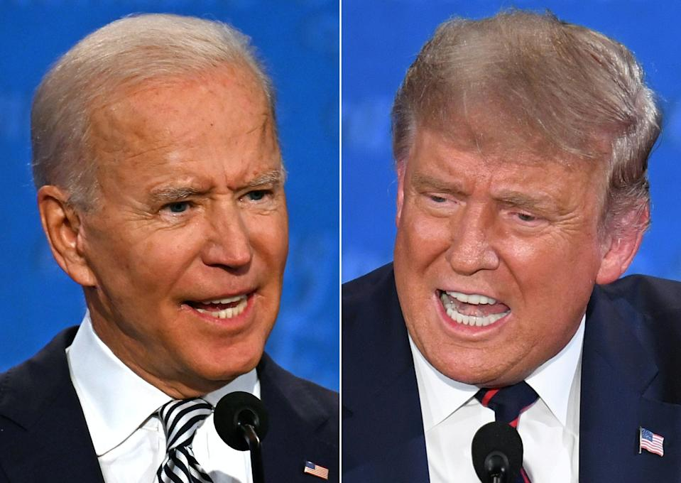 (COMBO) This combination of pictures created on September 29, 2020 shows Democratic Presidential candidate and former US Vice President Joe Biden (L) and US President Donald Trump speaking during the first presidential debate at the Case Western Reserve University and Cleveland Clinic in Cleveland, Ohio on September 29, 2020. US President Donald Trump speaks during the first presidential debate at Case Western Reserve University and Cleveland Clinic in Cleveland, Ohio, on September 29, 2020. (Photos by JIM WATSON and SAUL LOEB / AFP) (Photo by JIM WATSON,SAUL LOEB/AFP via Getty Images)