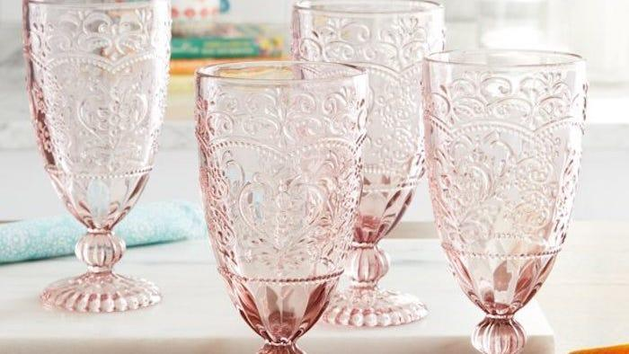 We're obsessed with these pink goblets.