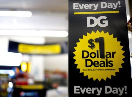 FILE PHOTO: A sign is seen inside a Dollar General store in Chicago
