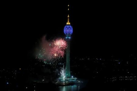 The Lotus Tower, the tallest tower in South Asia in shape of a 356-meter lotus and built with Chinese funding, is seen during its launching ceremony in Colombo