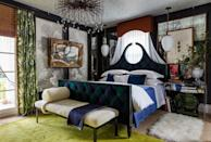 <p>If window placement isn't ideal in a bedroom, take a cue from Robin Gannon and allow the drapery to be both curtain and headboard, like in this canopy-effect style made with a cornice and sheers from The Shade Store. </p>