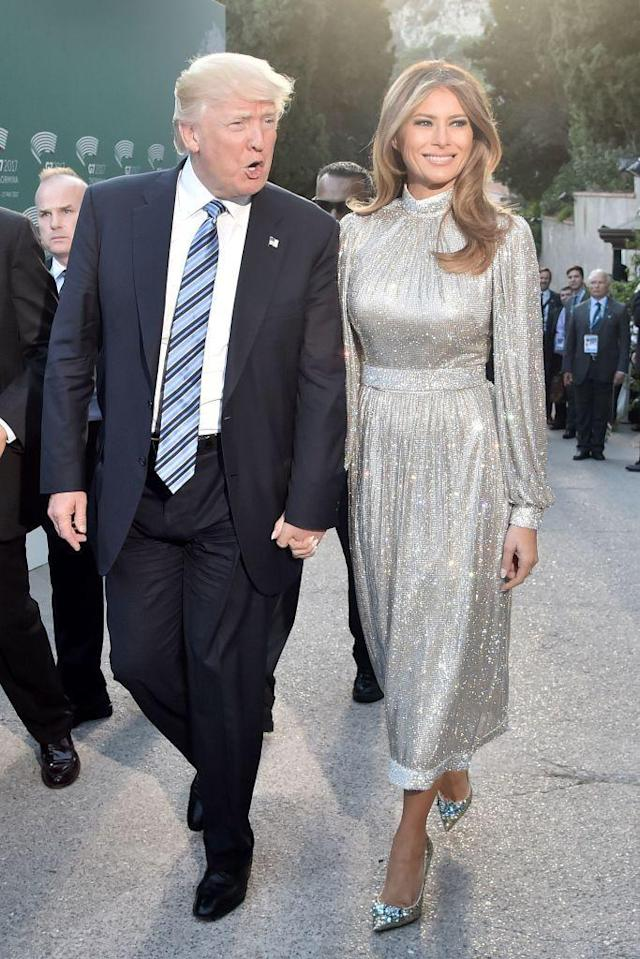 <p>The First Lady wore Dolce and Gabbana during her visit to the Ancient Greek Theatre in Taormina during President Trump's first overseas trip.</p>