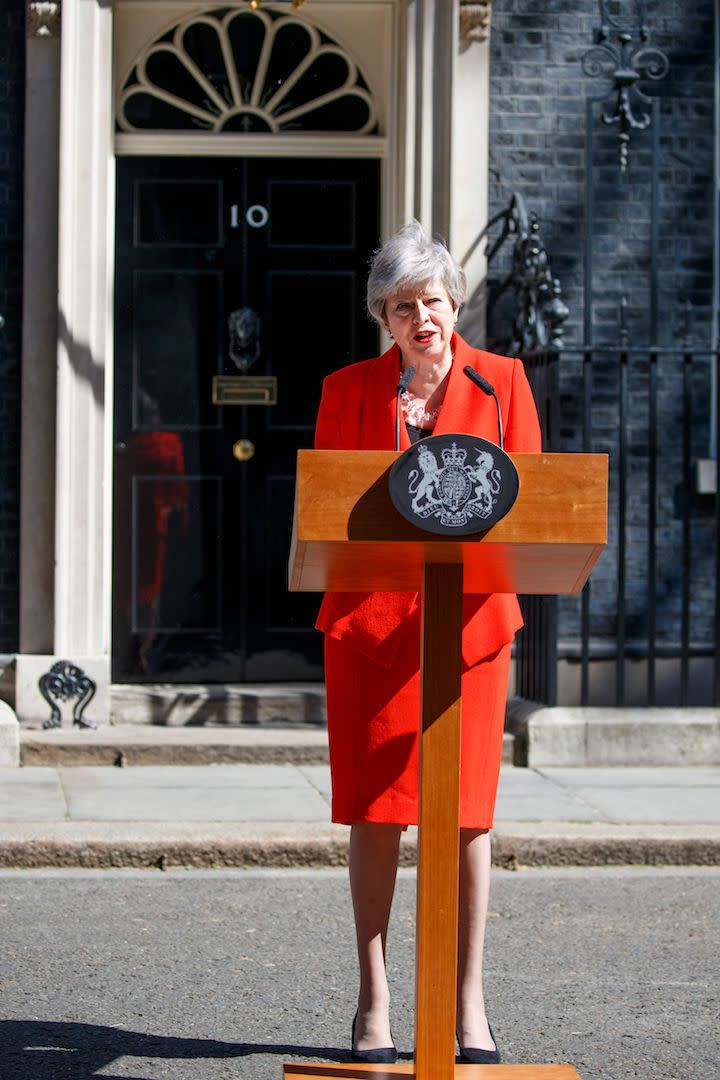 Theresa May chose a punchy ensemble to announce her resignation on May 24, 2019 [Photo: Getty]