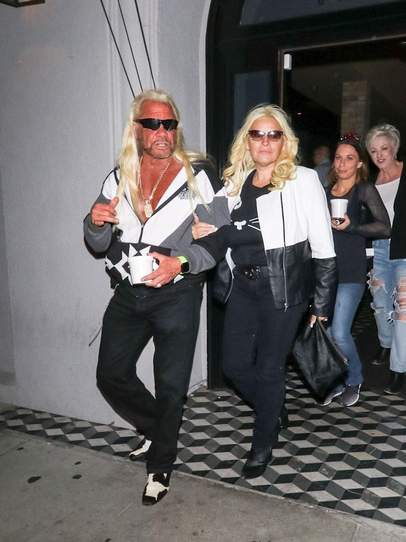 Dog and Beth out on the town