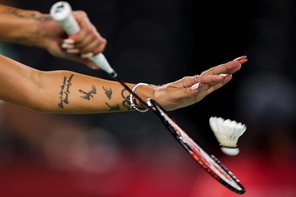 <p>CHOFU, JAPAN - JULY 26: A picture shows Gabriela Stoeva's tattoo and fingernails as she serves during a Women's Doubles Group D match between Gabriela Stoeva and Stefani Stoeva of Team Bulgaria and Chen Qing Chen and Jia Yi Fan of Team China on Day 3 of the Tokyo 2020 Olympic Games at Musashino Forest Sport Plaza on July 26, 2021 in Chofu, Tokyo, Japan. (Photo by Lintao Zhang/Getty Images)</p>