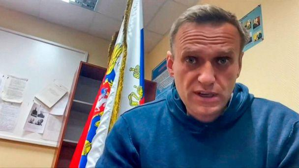 PHOTO: Alexei Navalny speaking while waiting for a court hearing at a police station in Khimki, Russia, Jan. 18, 2021. (Navalny team Youtube page/AFP via Getty Images)