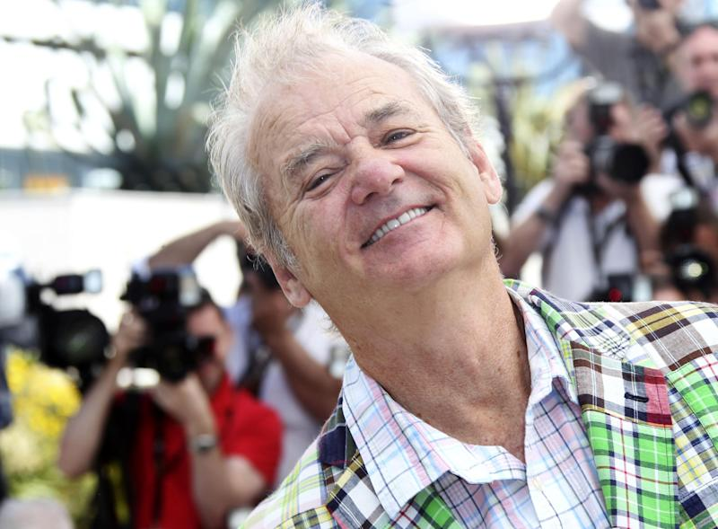 Actor Bill Murray smiles during a photo call for Moonrise Kingdom at the 65th international film festival, in Cannes, southern France, Wednesday, May 16, 2012. (AP Photo/Joel Ryan)