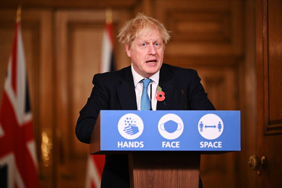 Prime Minister Boris Johnson during a media briefing in Downing Street. (PA)