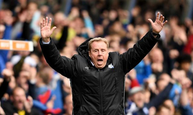 """<span class=""""element-image__caption"""">Harry Redknapp, the manager of Birmingham City, celebrates after his team's opening goal against Huddersfield Town. </span> <span class=""""element-image__credit"""">Photograph: Ross Kinnaird/Getty Images</span>"""