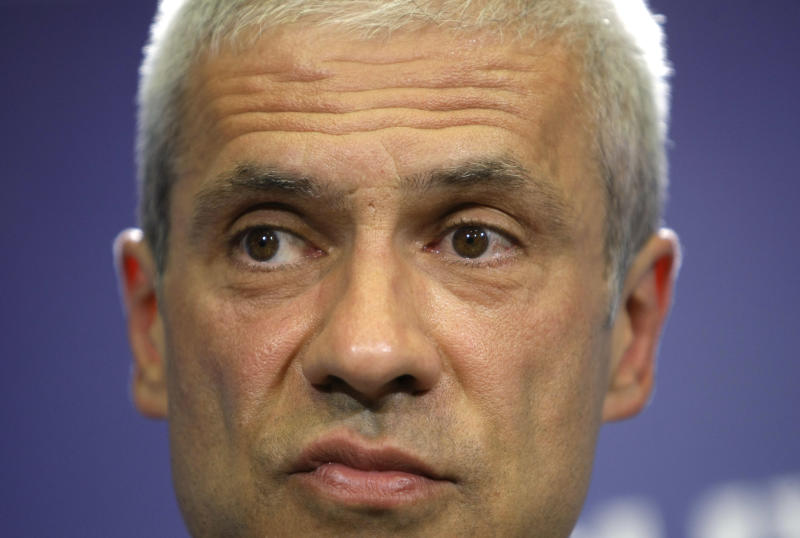 Democratic Party leader and and presidential candidate Boris Tadic addresses media after presidential elections in Belgrade, Serbia, Sunday, May 20, 2012. Nationalist Tomislav Nikolic beat pro European Union incumbent Boris Tadic in Serbia's presidential runoff election. (AP Photo/Darko Vojinovic)