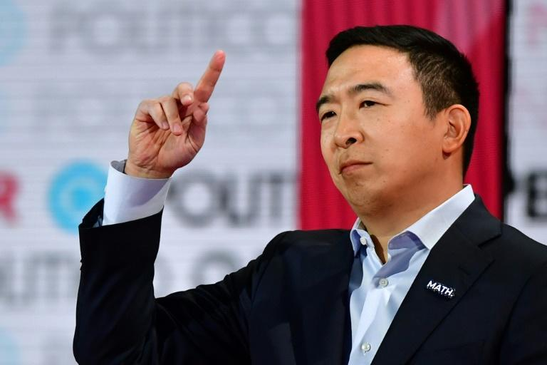 Democratic presidential hopeful entrepreneur Andrew Yang endorsed the idea of universal basic income before he dropped out of the race (AFP Photo/Frederic J. Brown)