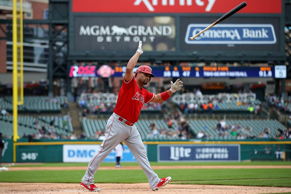DETROIT, MICHIGAN - MAY 09: Albert Pujols #5 of the Los Angeles Angels reacts to his third inning solo home run to reach 2000 career RBI's while playing the Detroit Tigers at Comerica Park on May 09, 2019 in Detroit, Michigan. (Photo by Gregory Shamus/Getty Images)