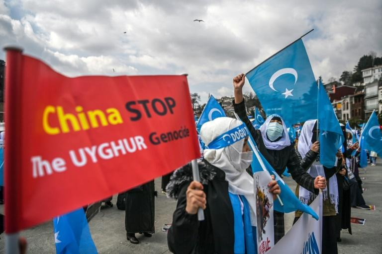 Ethnic Uighur women demonstrated near the Chinese consulate in Istanbul