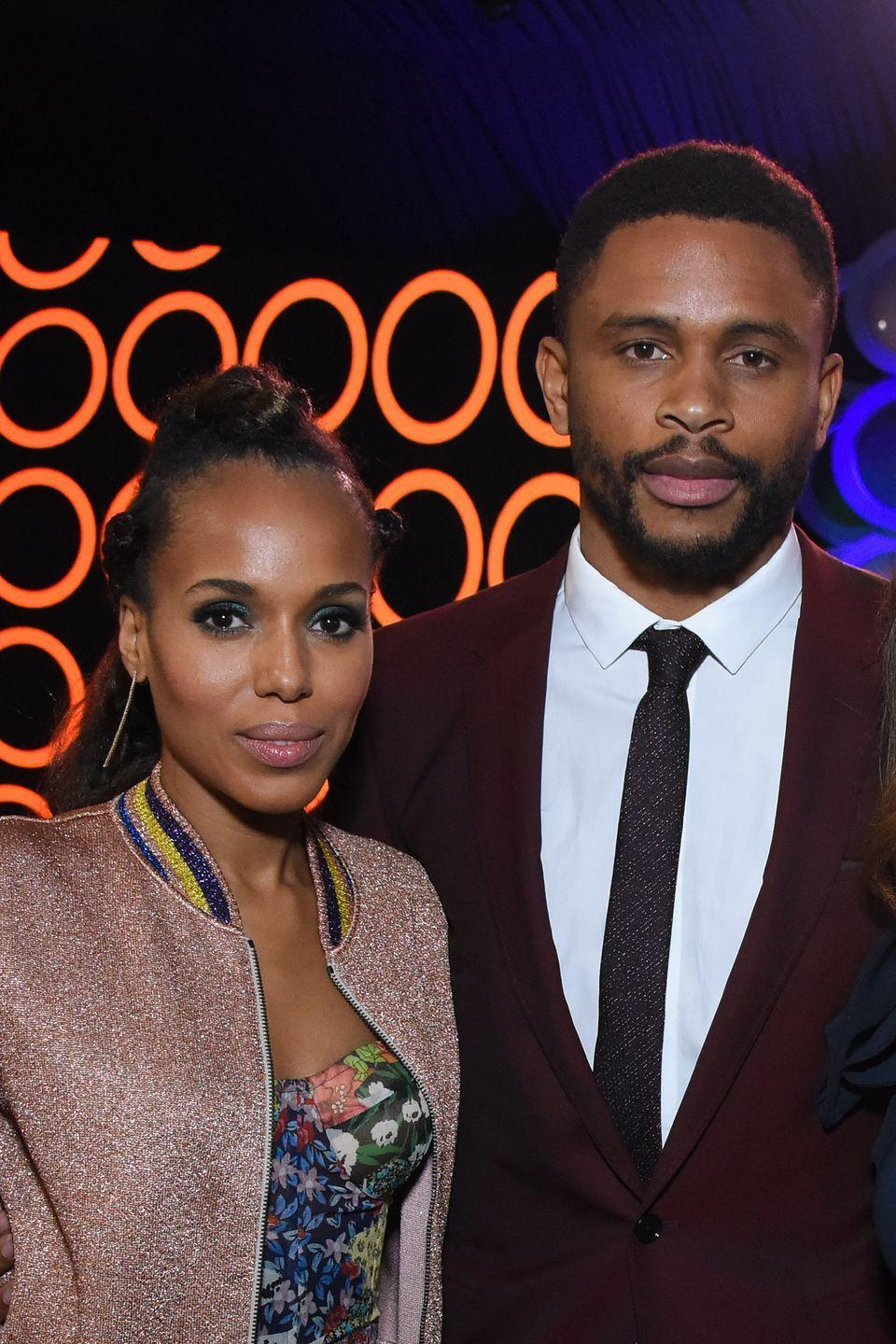 <p>Just like her <em>Scandal</em> character Olivia Pope, Kerry Washington loves mystery. Washington was dating the former NFL player-turned-actor and managed (or at least, attempted) to hide her pregnancy while shooting <em>Scandal.</em> The pair welcomed their second child in 2016.</p>