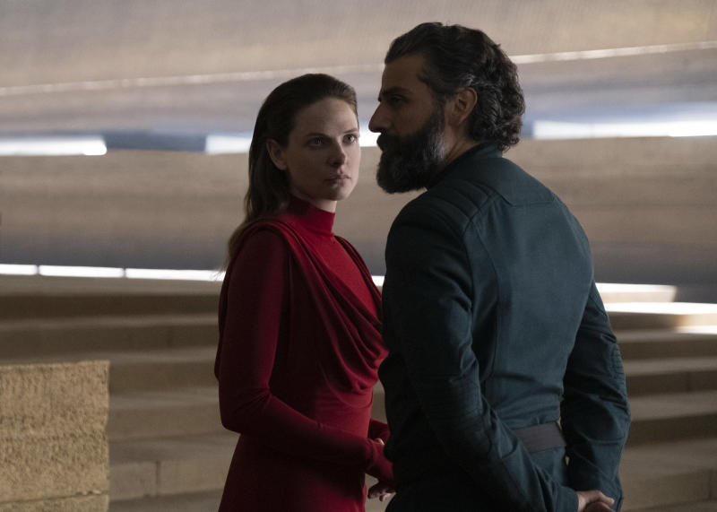 Rebecca Fergusons and Oscar Isaac in a still from Denis Villeneuve's adaptation of Frank Herbert's Dune. (Warner Bros.)