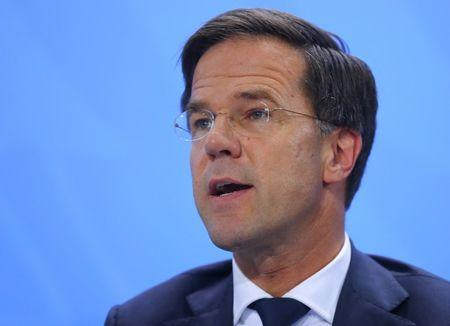 Dutch Prime Minister Rutte attends the press conference after the meeting at the Chancellery in Berlin