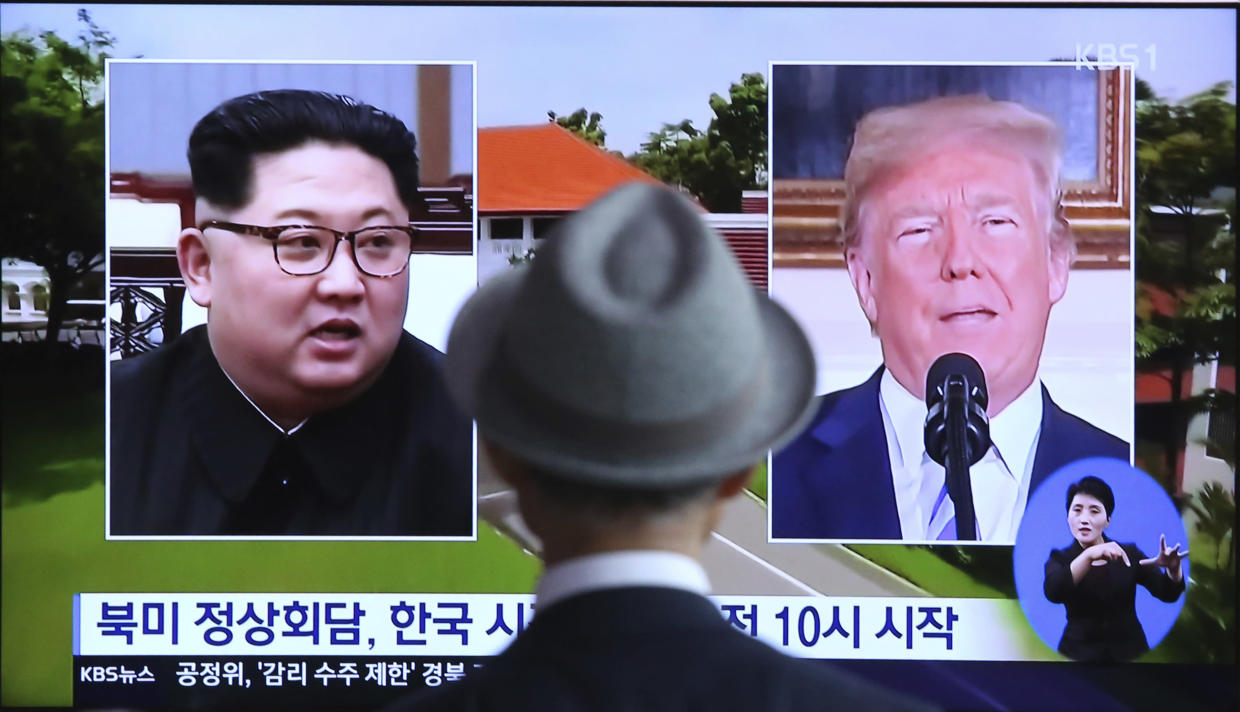 A man watches a TV news program about the summit at the Seoul Railway Station in South Korea on Monday. (Photo: Ahn Young-joon/AP)